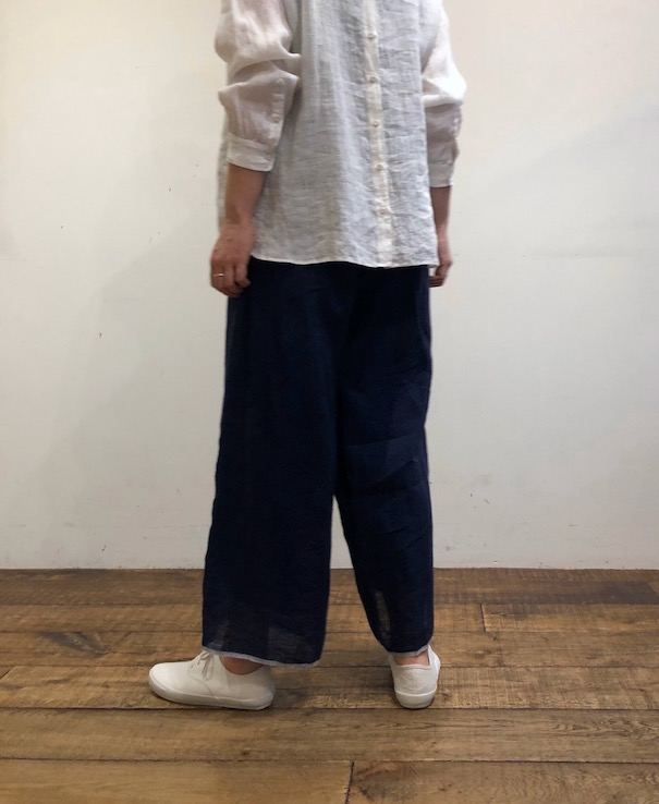 INMDS20176 80'S HAND WOVEN LINEN PLAIN WITH SELVAGE EASY PANTS WITH LINING