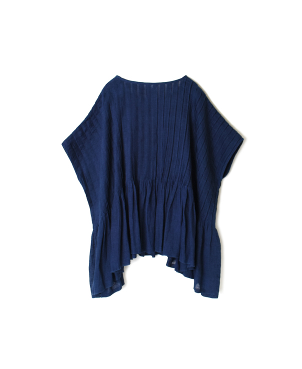 INMDS20183 80'S HAND WOVEN YARN DYED NATURAL INDIGO LINEN PLAIN RANDOM PLEATS PULLOVER