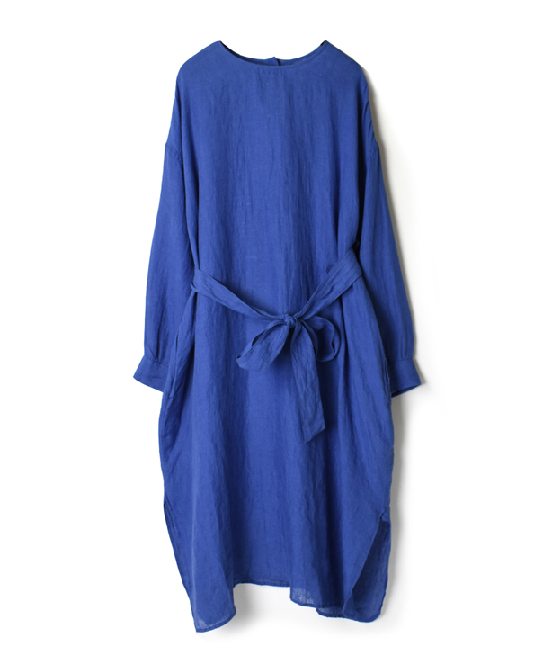 NMDS20012 80'S POWER LOOM LINEN PLAIN BACK OPENING CREW-NECK SHIRT DRESS