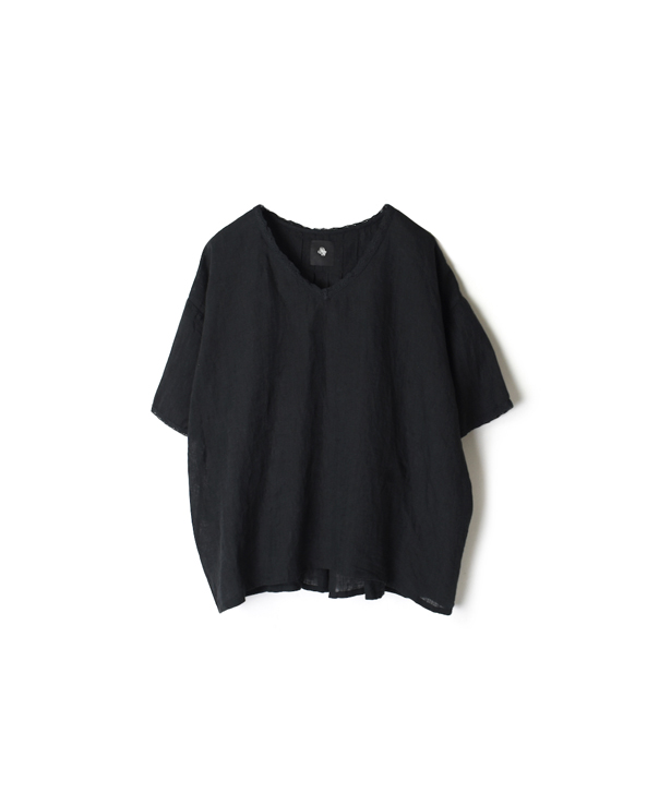 NMDS20013 80'S POWER LOOM LINEN PLAIN V-NECK LACE SHORT PULLOVER