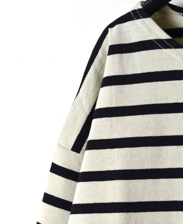 NLA1951 REGULAR STRIPE L/SL DROP SHOULDER BASQUE SHIRT