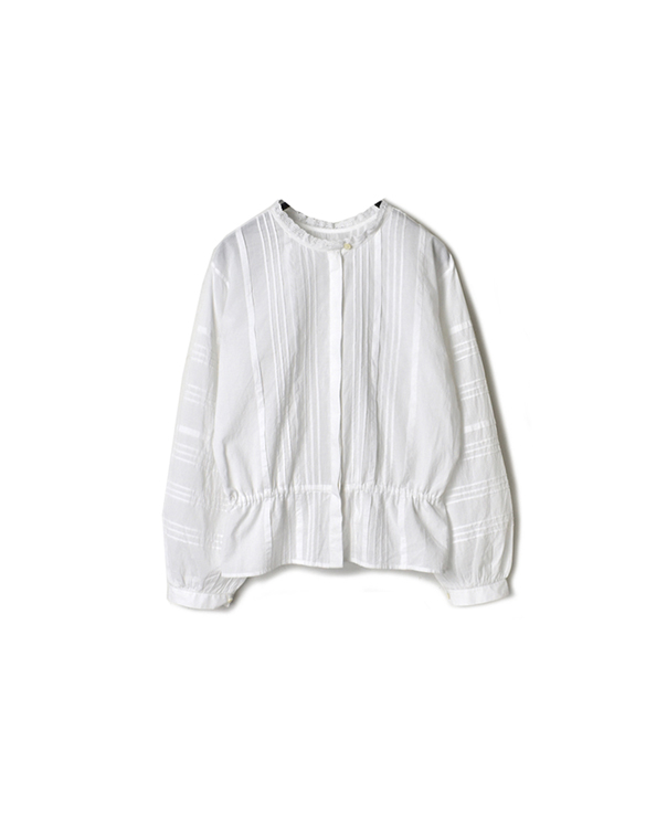 NMDS20531 60'S ORGANIC CAMBRIC LACE PINTUCK 2WAY SHIRT