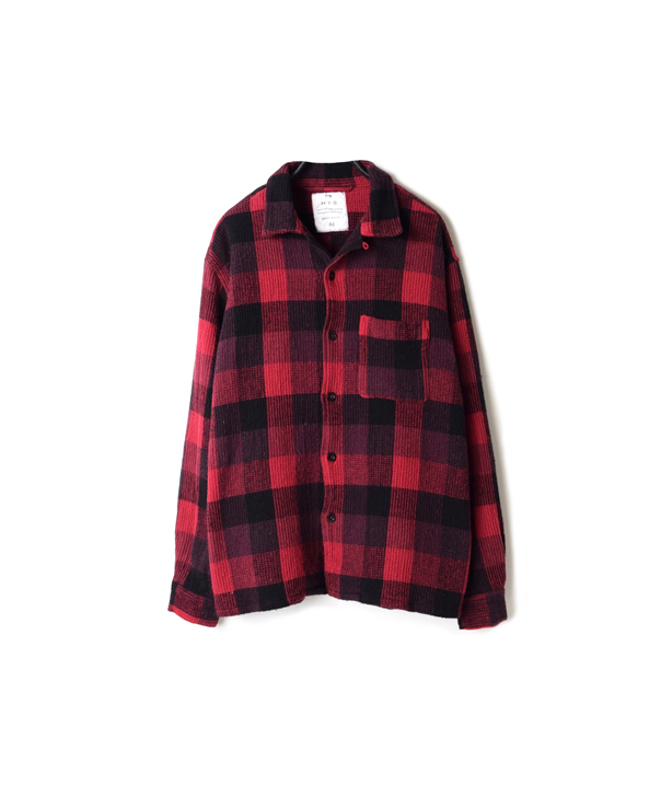 INHT2051WC COTTON WAFFLE BLOCK CHECK OVERDYE ONE-UP COLLAR SHIRT