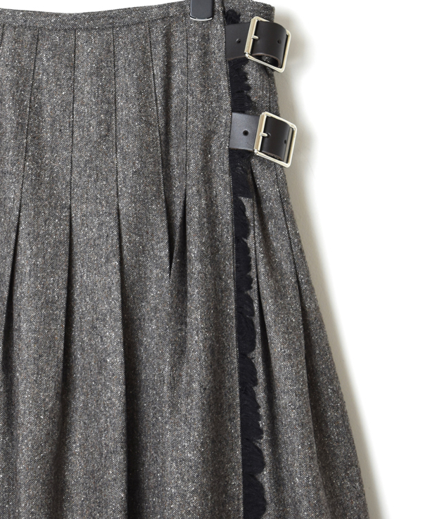 NOD1951 COUNTRY MIX LOW WAIST PLEATS WRAP SKIRT