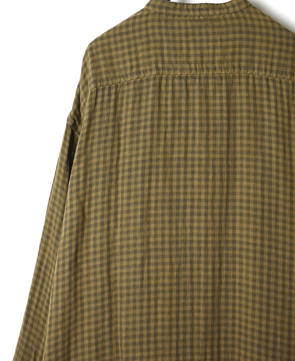INAM1972DGD DOUBLE GAUZE OVER DYE UTILITY BANDED COLLAR LONG SHIRT