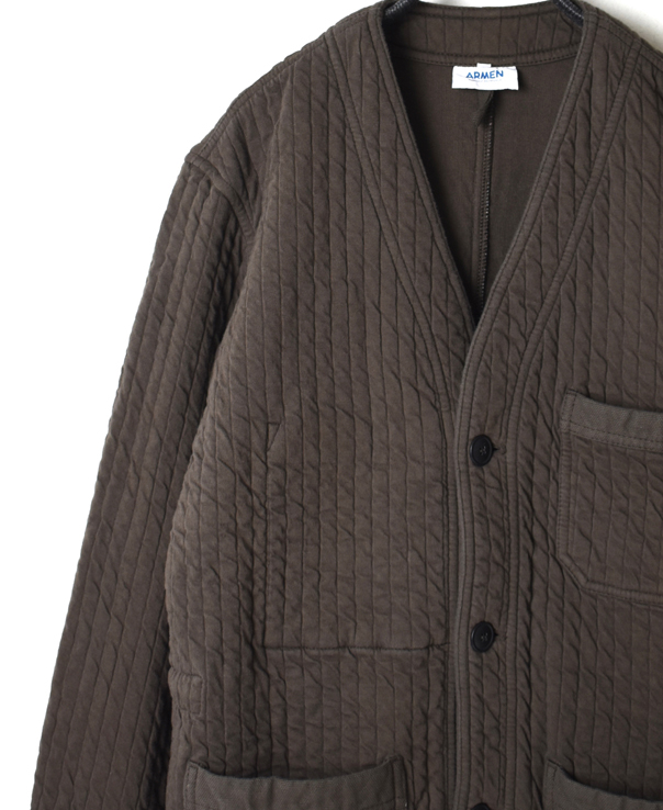 NAM2006A VERTICAL COTTON QUILT V-NECK JACKET