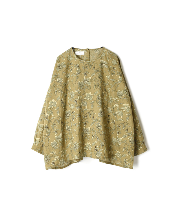 NSL20572 60'S CAMBRIC FLOWER PRINT BACK SIDE GATHERED SMOCK