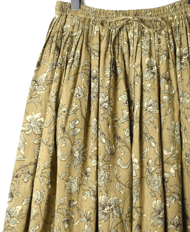 NSL20575 60'S CAMBRIC FLOWER PRINT GATHERED SKIRT
