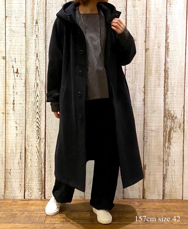 NHT1752WPR WOOL HOODED COAT LENGTH 110cm