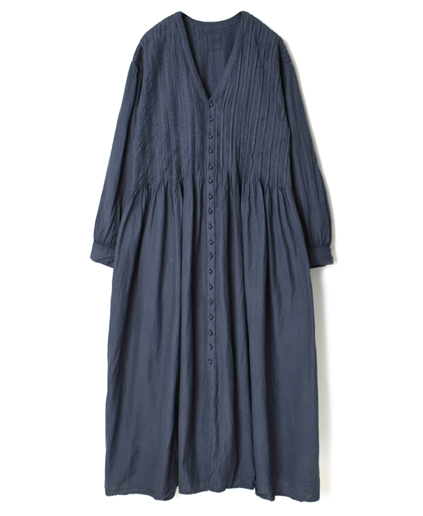 INMDS20704 TWILL COTTON KHADI(NATURAL DYED) V-NECK DRESS WITH RANDOM PLEATS