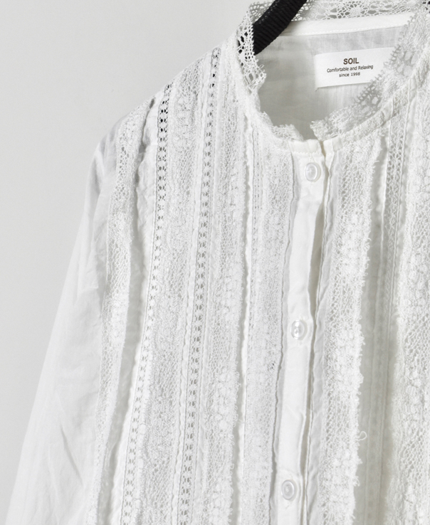 NSL20541 COTTON VOILE LACE PINTUCK SHIRT