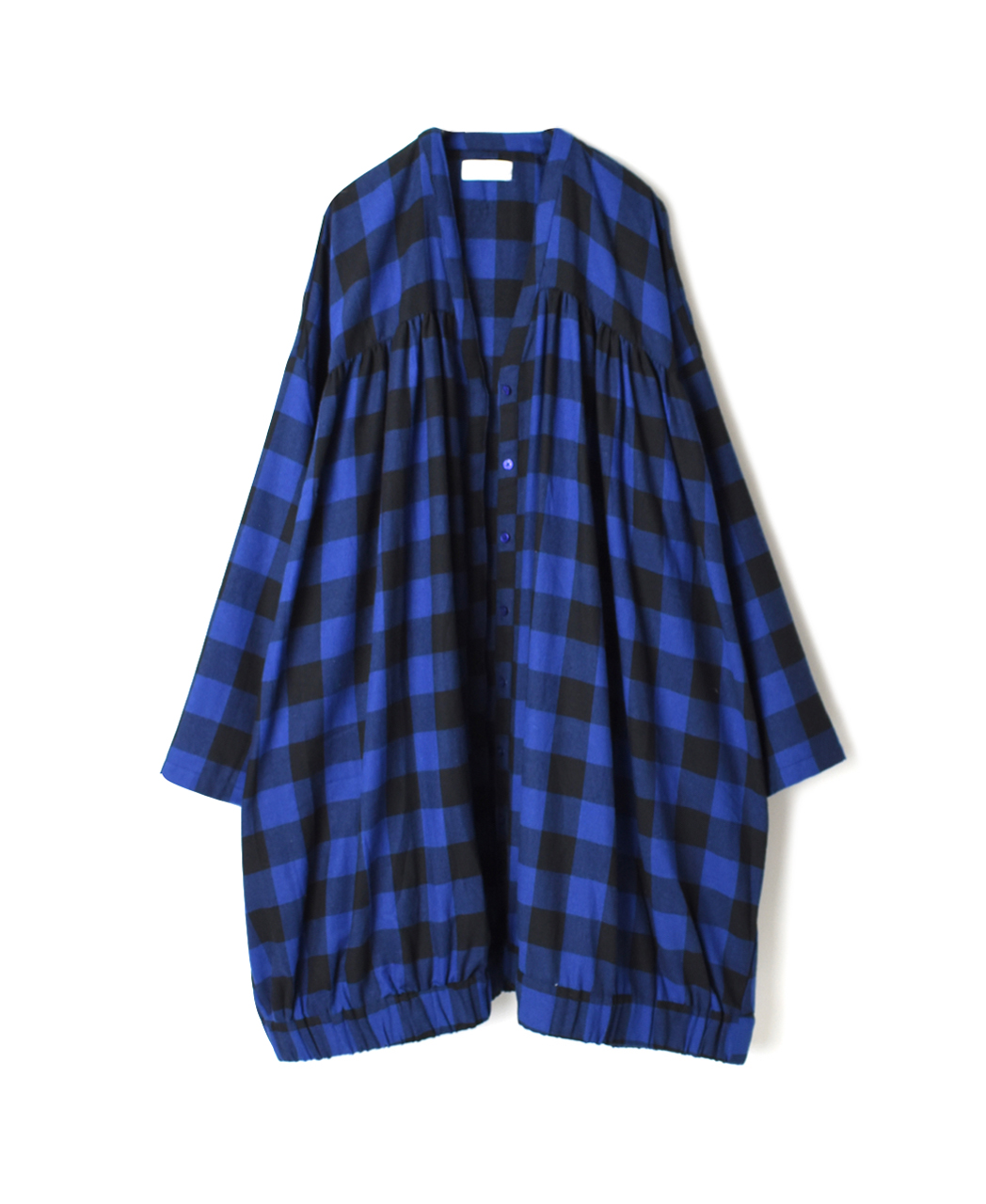 NSL20554 COTTON FLANNEL YARN DYED CHECK FLY FRONT V-NECK SMOCK