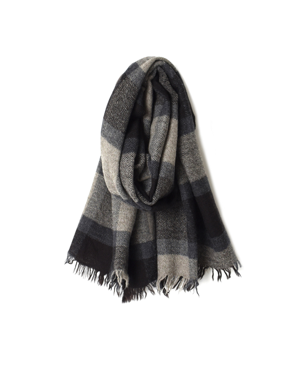 NSL18601 BOILED WOOL BIG CHECK STOLE