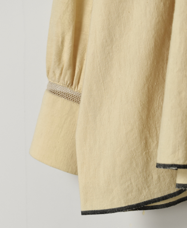 INMDS20721 HEAVY COTTON KHADI WITH SELVAGE NECK GATHERED SHIRT