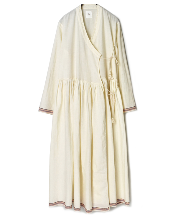 INMDS20712 HANDWOVEN COTTON WITH JACQUARD SELVAGE CACHE COEUR DRESS