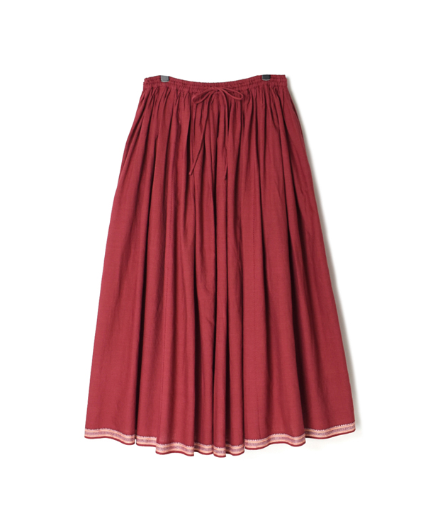 INMDS20715 HANDWOVEN COTTON WITH JACQUARD SELVAGE TUCK SKIRT WITH LINING