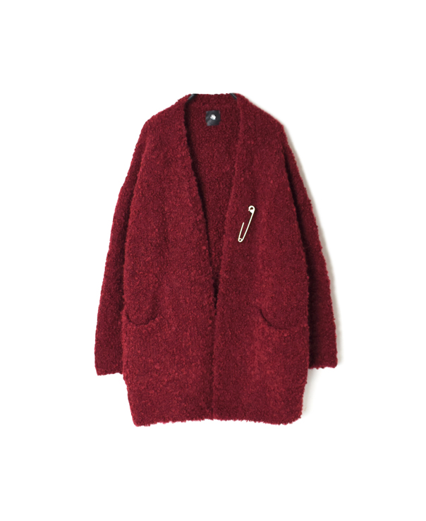 CNMDS2051A BOUCLE V-NECK CARDIGAN WITH PIN