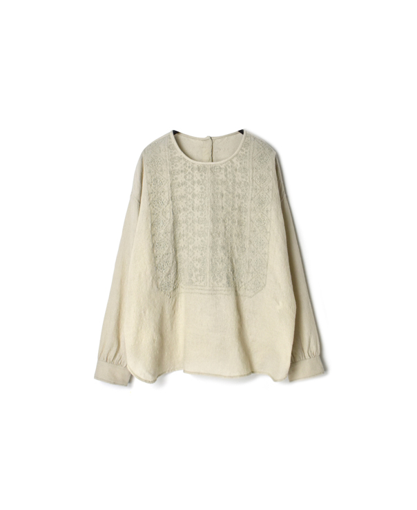 NMDS20562 BOILED WOOL PLAIN BACK OPENING CREW-NECK EMB SHIRT