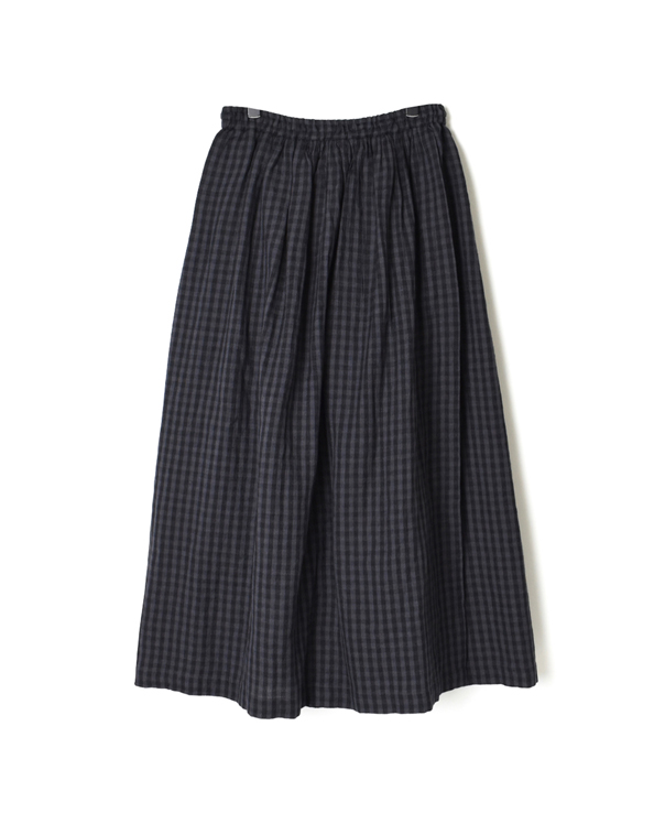 INSL20614 WOOL LINEN CHECK GATHERED WRAP SKIRT