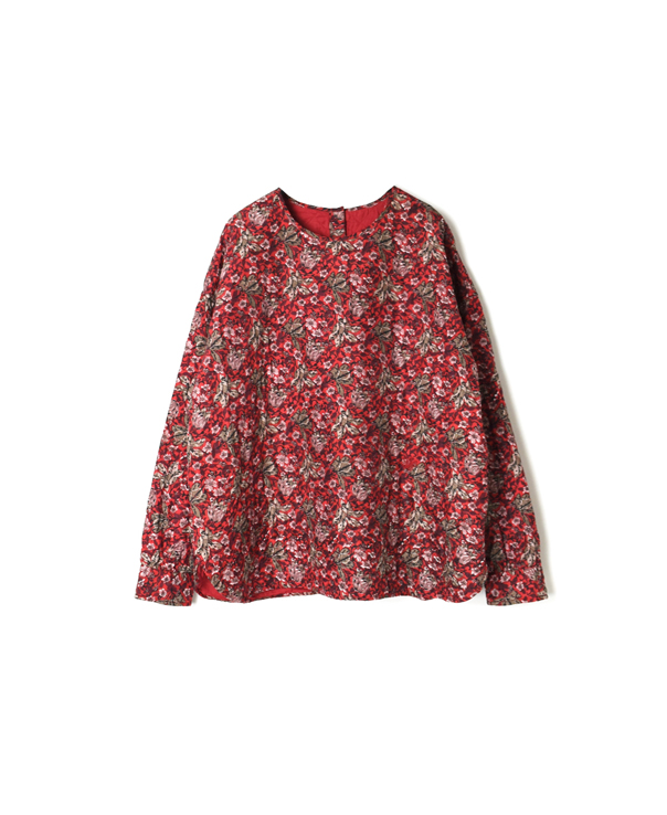 NMDS20512F QUILTED SILK FLOWER BACK OPENING CREW-NECK SHIRT