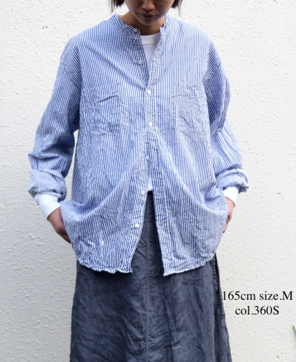 NVL1951SW RINTED CAMBRIC BANDED COLLAR L/SL OVERSIZED SHIRT