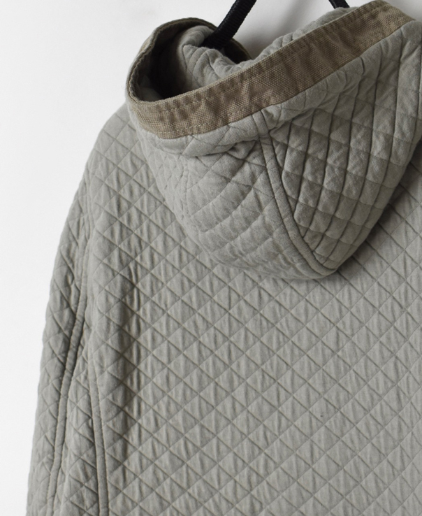 NAM2102 COTTON QUILT MID-LENGTH HOODED COAT