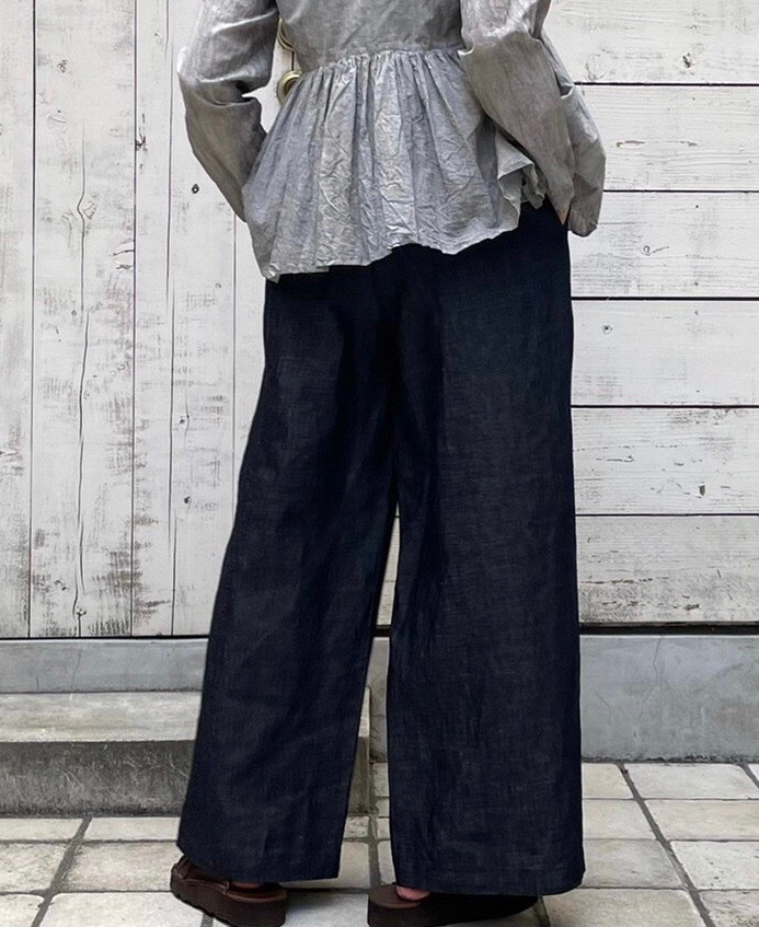 GNMDS2102CLP COTTON LINEN EASY WIDE PANTS