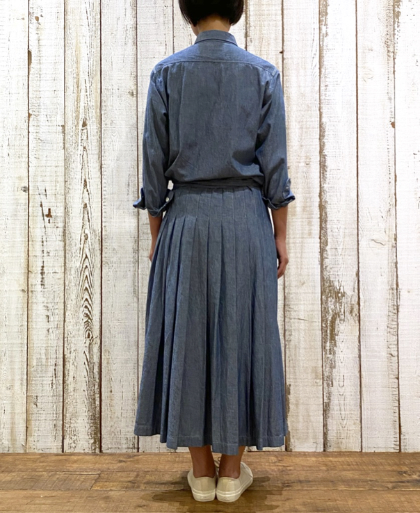 GNAM2102 5oz CHAMBRAY PLEATED WRAP SKIRT