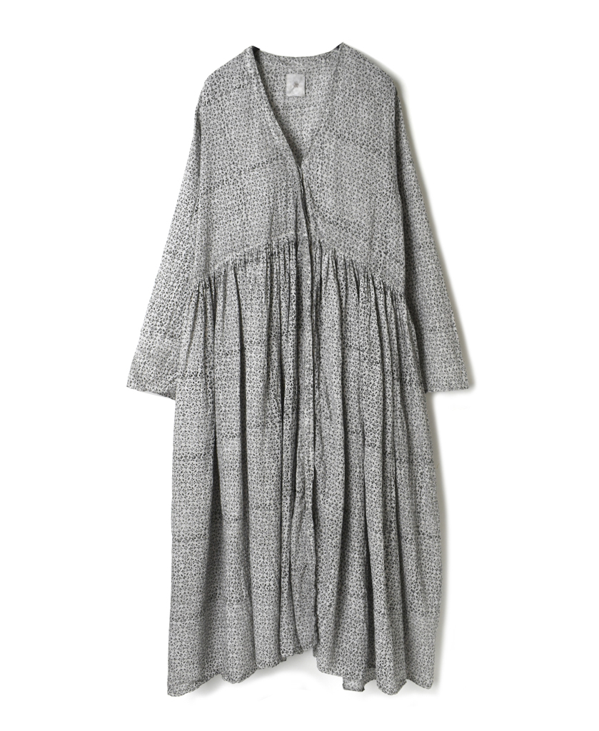NMDS21313 SMALL LEAF BLOCK PRINT (HAND DYED) RAJASTHAN TUCK GATHERED WRAP DRESS