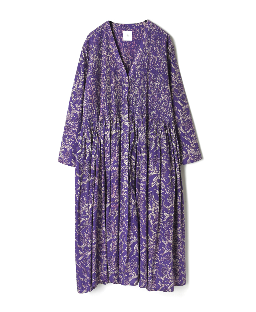INMDS21024 80'S VOILE LEAF & FLOWER BLOCK PRINT MINI PINTUCK WRAP DRESS