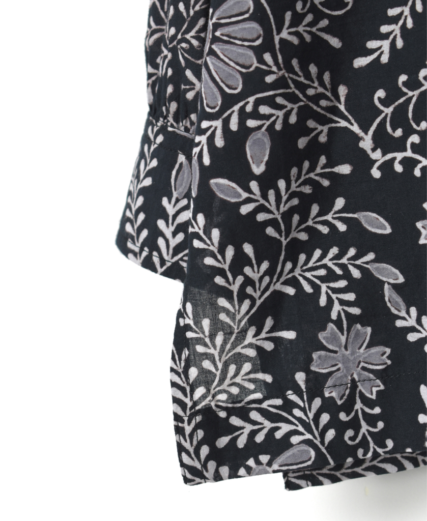INMDS21021 80'S VOILE LEAF & FLOWER BLOCK PRINT PLEATS SHIRT