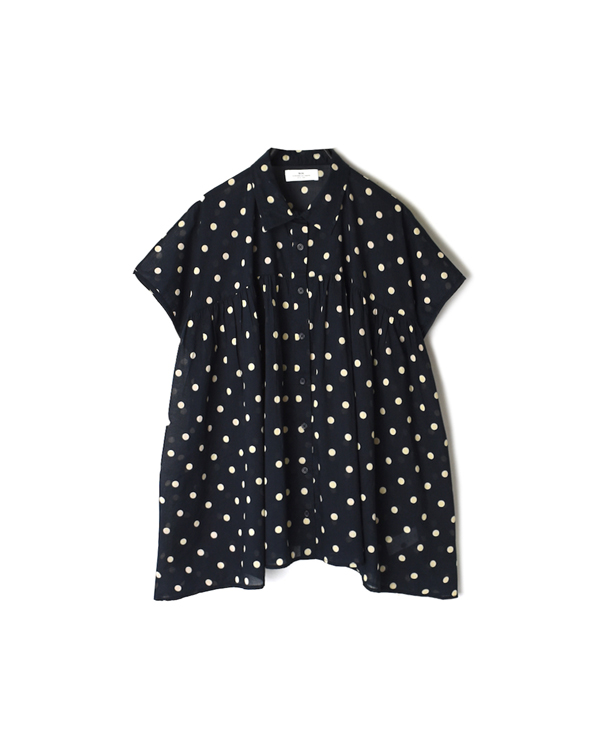 NSL21021 COTTON VOILE DOT PRINT GATHERED SHIRT