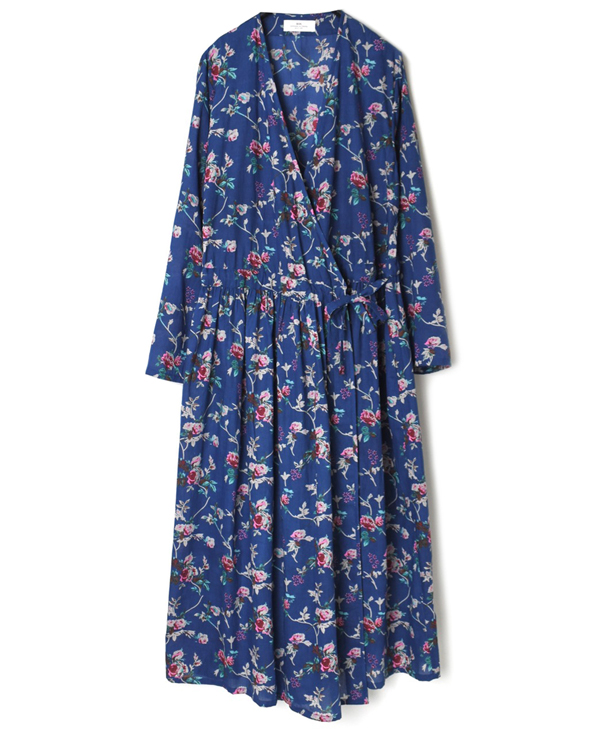 NSL21064 COTTON VOILE ROSE FLOWER PRINT CACHE COEUR DRESS