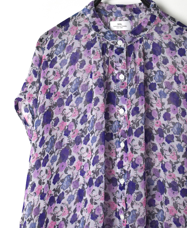 NSL21082 GEORGETTE MEDIUM FLOWER PRINT BANDED COLLAR GATHERED FRENCH / SL SHIRT