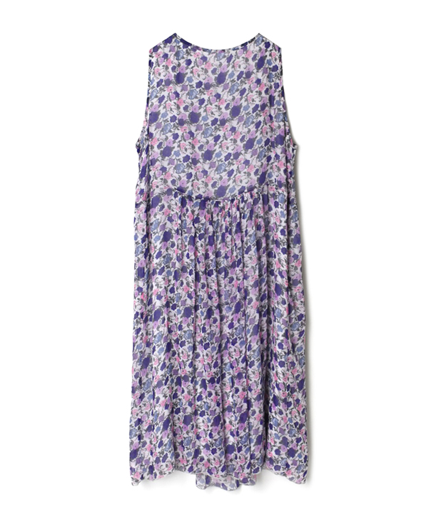 NSL21084 GEORGETTE MEDIUM FLOWER PRINT BOAT-NECK DRESS