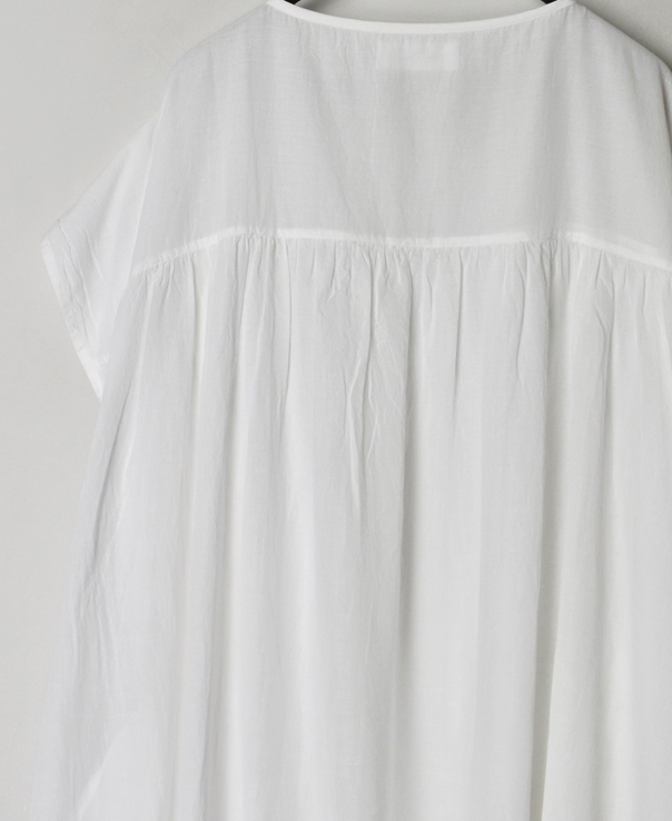 NSL21003 SUPER FINE VOILE PLANE GATHERED DRESS WITH LINING