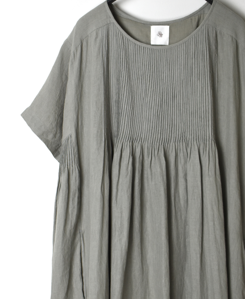 NMDS21143 80'S POWER LOOM LINEN PLAIN MINI PINTUCK CREW-NECK S/SL DRESS WITH LINING