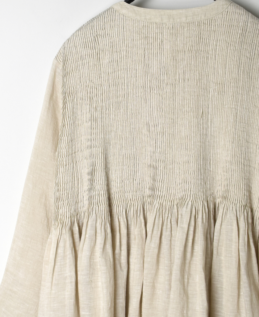 INMDS21002 80'S HANDWOVEN LINEN PLAIN WITH SELVAGE MINI PINTUCK WRAP BLOUSE