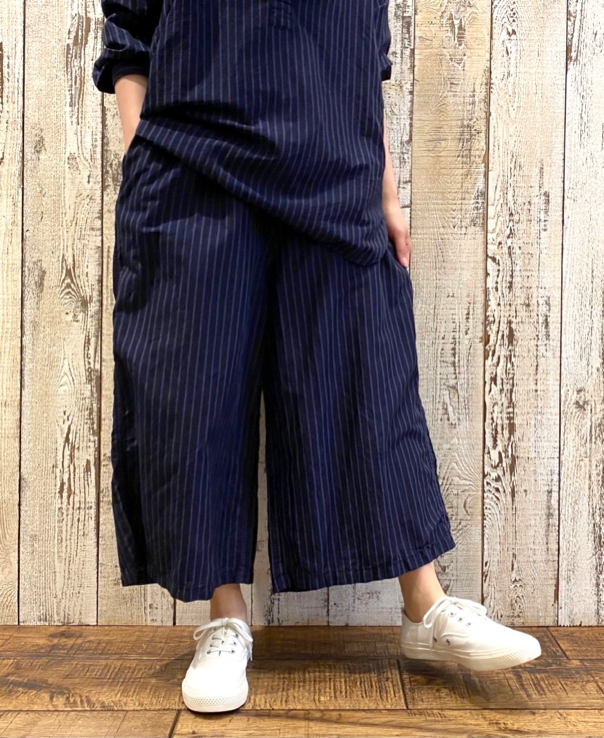 LNHT2131LS COTTON LINEN STRIPE OVERDYE WORK PULLOVER SHIRT