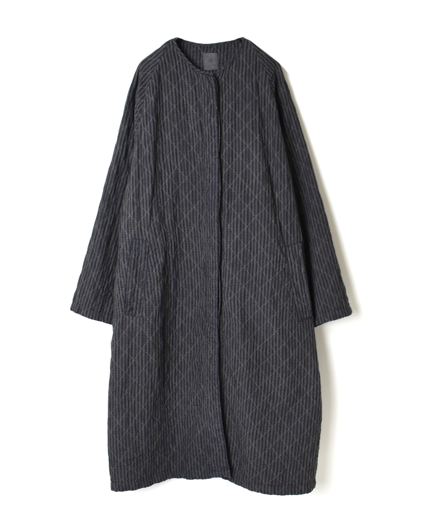 NMDS21101S QUILTED LINEN STRIPE (HAND DYED) RAGLAN COAT