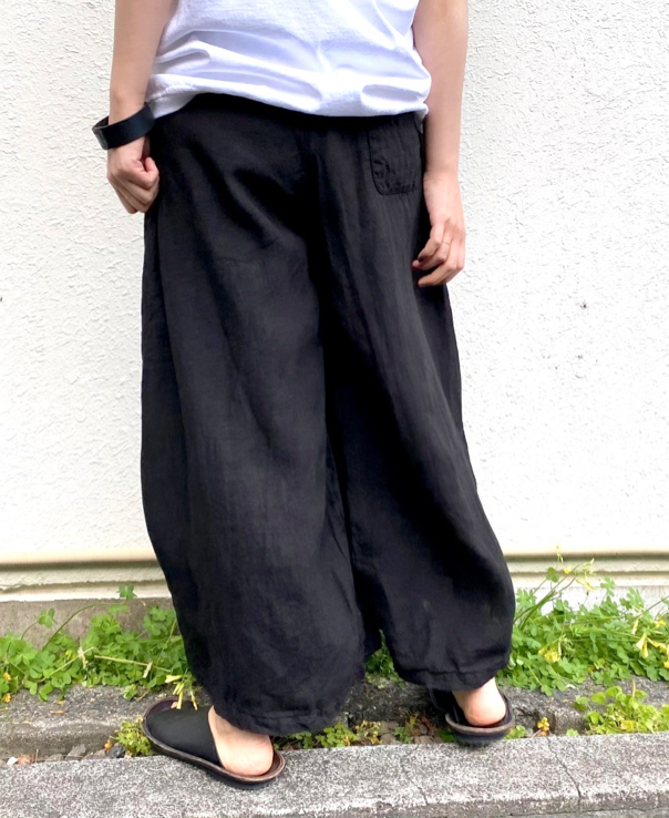 NAM1731LP LINEN PLAIN(OVER DYE) WRAP CULOTTES