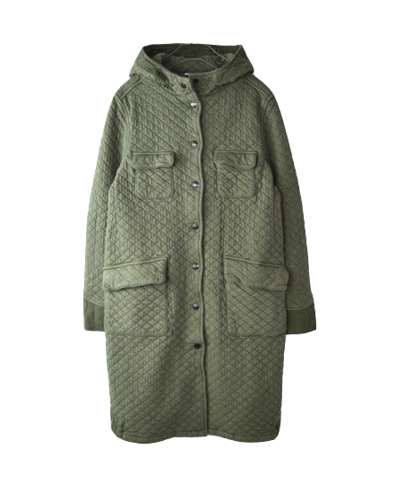 NAM0754 COTTON QUILT L'S HOODED 4POCKET COAT