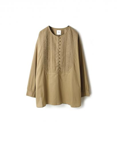NMDS19522 ORGANIC CAMBRIC RANDOM PLEATS SHIRT