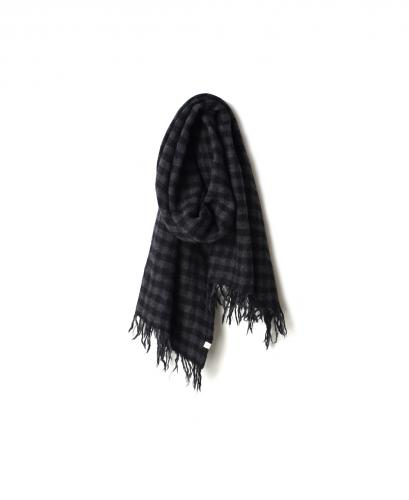 NSL19502 WOOL BOILED SMALL GINGHAM CHECK STOLE
