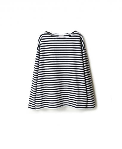 NBL1702N NARROW STRIPE DROP SHOULDER BASQUE SHIRT
