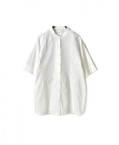 NMDS20063 ORGANIC CAMBRIC BANDED COLLAR S/SL SHIRT