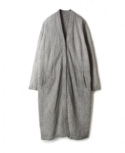 NMDS20002 POWER LOOM LINEN HAND DYED SMALL QUILT V-NECK COAT