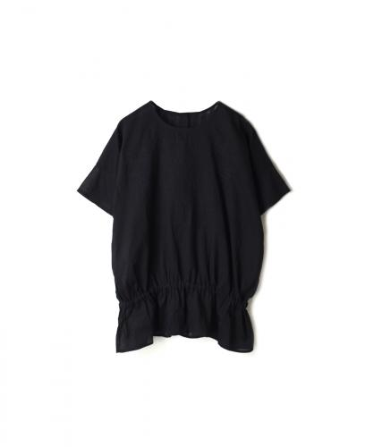 NMDS20082 ORGANIC VOILE BACK PINTUCK CREW-NECK EMB SHIRT