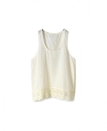INMDS20144 COTTON SILK U-NECK TANK TOP WITH LACE