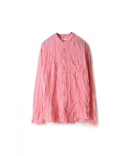 NVL1951HW HAND WOVEN COTTON BANDED COLLAR L/SL OVERSIZED SHIRT